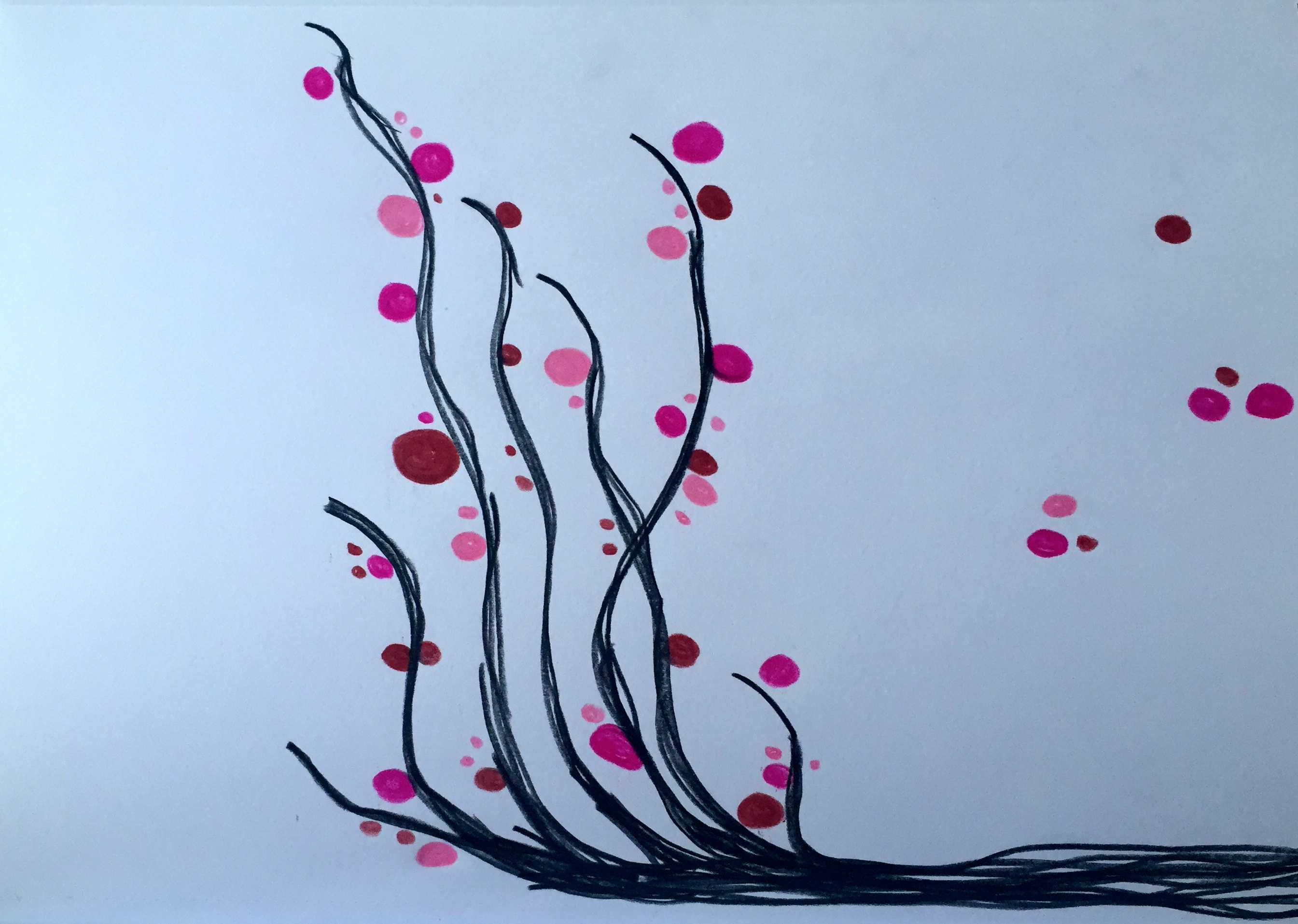 artwork with colored pencil design tree pink and red dots abstract artist